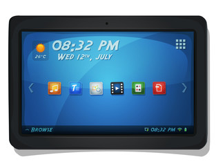 Digital Tablet PC With OS Icons