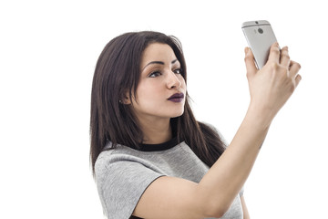 Beautiful woman portrait taking a selfie