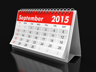 Calendar -  September 2015 (clipping path included)
