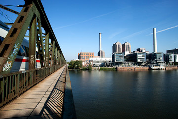 Frankfurt am Main, bridge, river, skyline, harbor