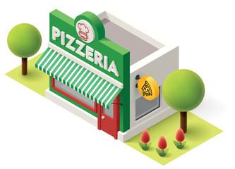 Vector isometric pizzeria