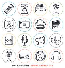 Cinema and movie line icons set.