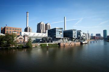 Frankfurt am Main, river, skyline, harbor, panorama