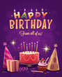 Happy Birthday greeting card. Vector illustration. - 81606250