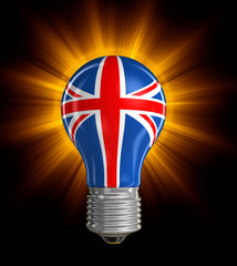 Light bulb with British Flag (clipping path included)