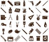 Fototapety attributes of art icons on white