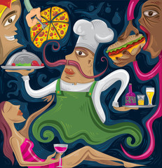 Abstract Restaurant Chef, Fast Food Art (Vector Art)