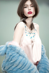 fashion woman model portrait blue fur coat