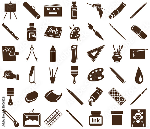 attributes of art icons on white - 81606622