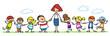 Leinwanddruck Bild - Erzieherin mit Gruppe Kinder im Kindergarten