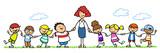 Erzieherin mit Gruppe Kinder im Kindergarten