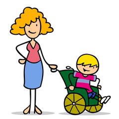 Mutter mit Sohn im Rollstuhl