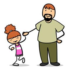 Vater hält seine Tochter an der Hand