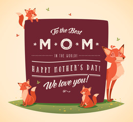 Happy Mother's Day greeting card with cartoon characters