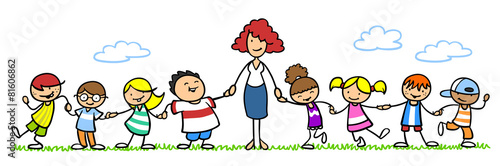 Leinwanddruck Bild Erzieherin mit Gruppe Kinder im Kindergarten