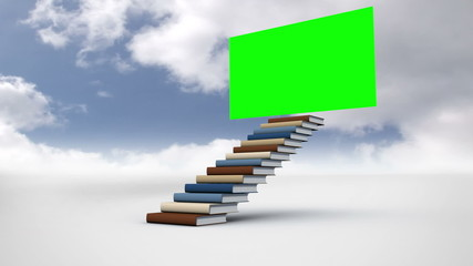 Stair made of books with a green screen in the cloudy sky