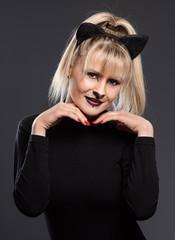 Actress dressed cat