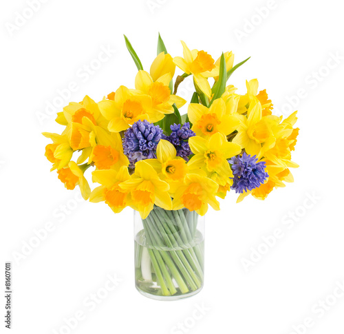 Papiers peints Narcisse Bouquet of fresh narcissus and hyacinths isolated over white