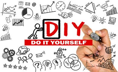 do it yourself concept hand drawing on whiteboard