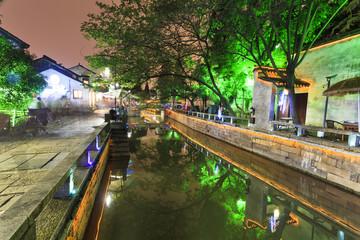 China Suzhou Canal Street Dusk