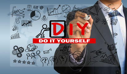 do it yourself concept hand drawing by businessman