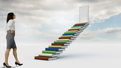 Businesswoman looking at stair made of books in the cloudy sky