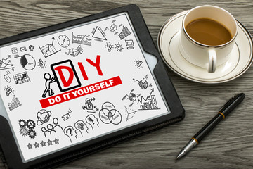 do it yourself concept hand drawing on tablet pc