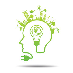 Head power green concept world in bulb ecology