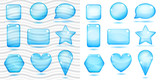 Transparent and opaque blue glass shapes with glares and shadows poster