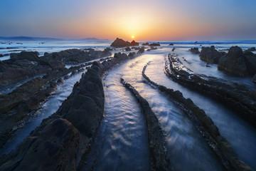 Barrika beach at sunset