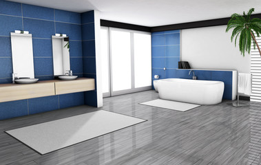 Blue Bathroom Home Interior