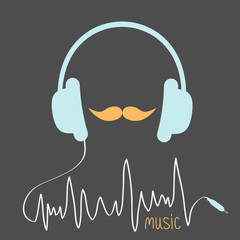 Blue headphones with cord. Orange moustaches Music  Flat