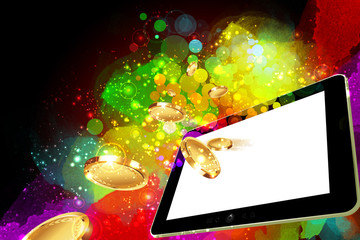 Money falling out of the tablet pc screen