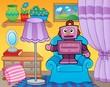 Room with retro robot