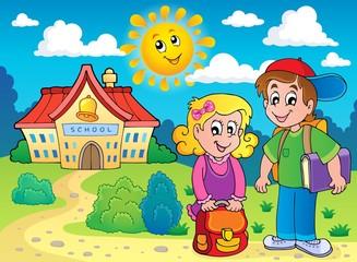 Two children near school