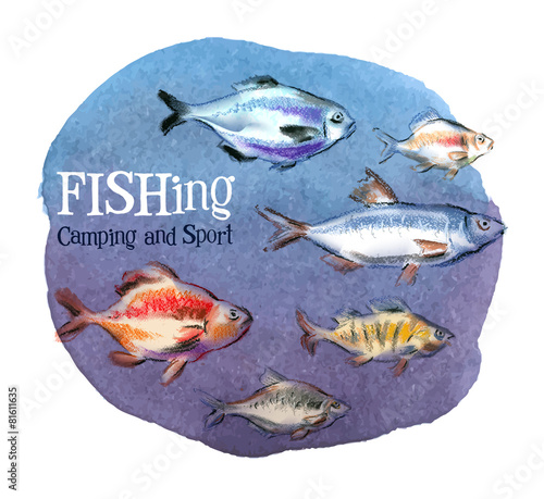 Fototapeta fishing vector logo design template. fresh fish or oceanarium