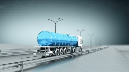 Blue gas truck on a highway back view looping animation
