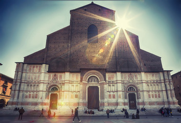 The Basilica of San Petronio ,  Piazza Maggiore, in Bologna.
