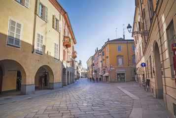 day street  in Parma, Italy,