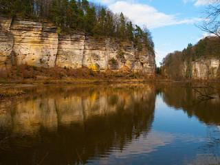 Sandstone rocks mirroring in the lake