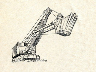 Single bucket caterpillar excavator