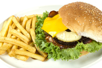Hawaiian burger and chips
