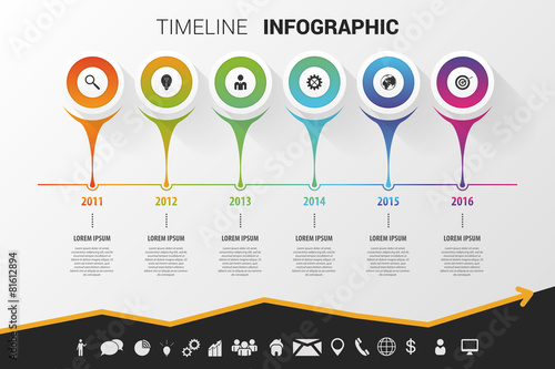 Timeline infographic modern design. Vector with icons - 81612894