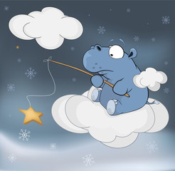 Little hippopotamus and fantastic star. Cartoon