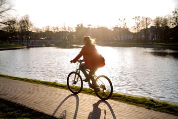 girl driving on bike