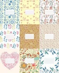 Copybook, notebook cute template patterned light vector set