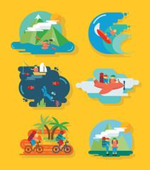 Travel and Fun Icon set vector illustration