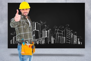 Composite image of confident manual worker gesturing thumb up