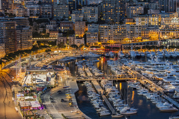Monaco. The top view to port and the residential area at night