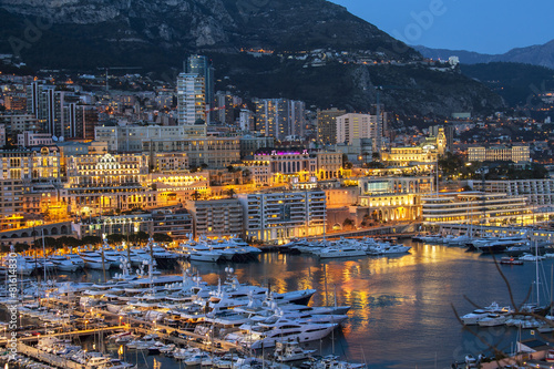 MonacoThe top view on the port and the residential area at night Poster